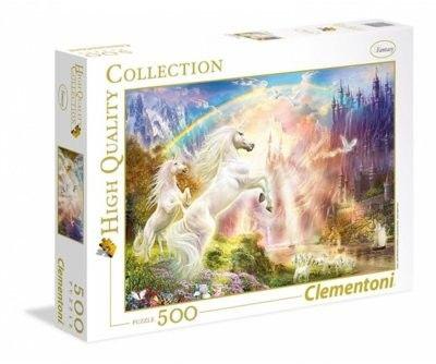 Puzzle Clem. 500 - Jednorożce o zachodzie słońca, Sunset Unicorns