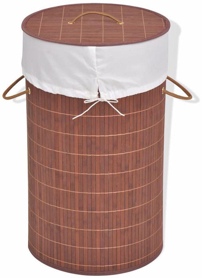 Pojemnik na pranie okrągły Lavandi 2X- brązowy