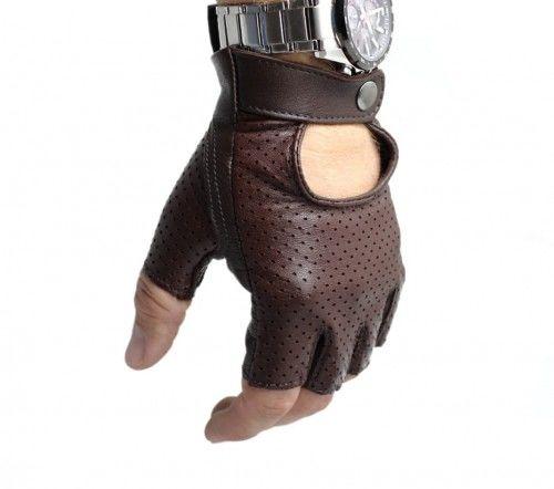Męskie rękawiczki skórzane bez palców, samochodowe, rowerowe - skóra perforowana, brązowe