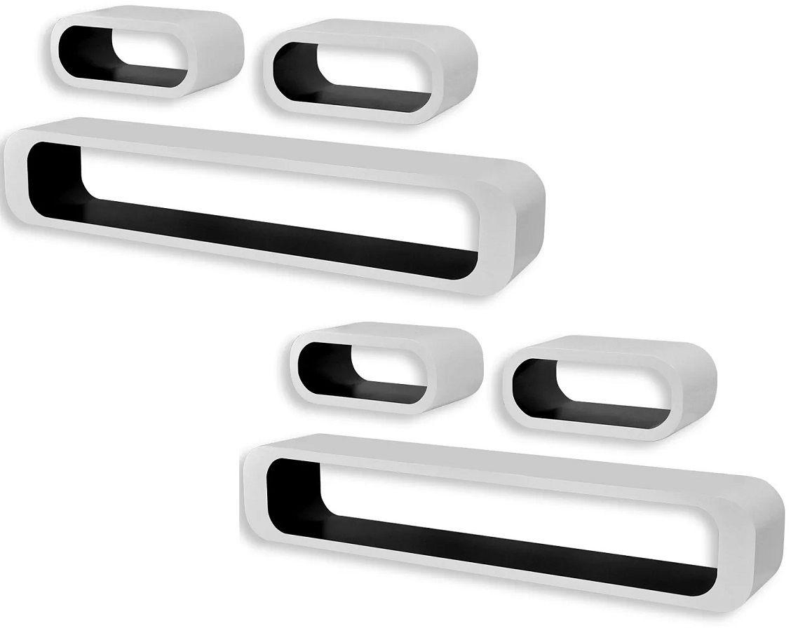 Zestaw biało-czarnych półek ściennych - Mins 3X