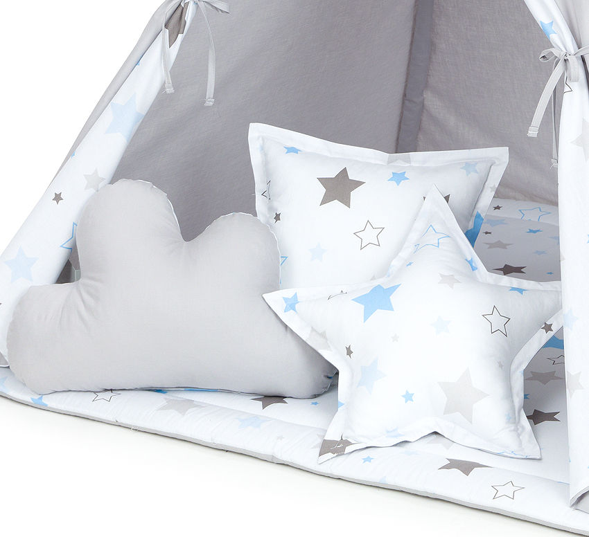 MAMO-TATO Komplet poduszek 3 szt. Gwiazdozbiór niebieski / szary