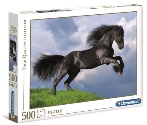 Puzzle Clementoni 500 - Fryzyjski czarny koń, Fresian Black Horse