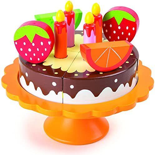 small foot 10167 drewno, z etażerką i akcesoriami kuchennymi dla dzieci z połączeniami na rzepy, tort urodzinowy od 3 lat