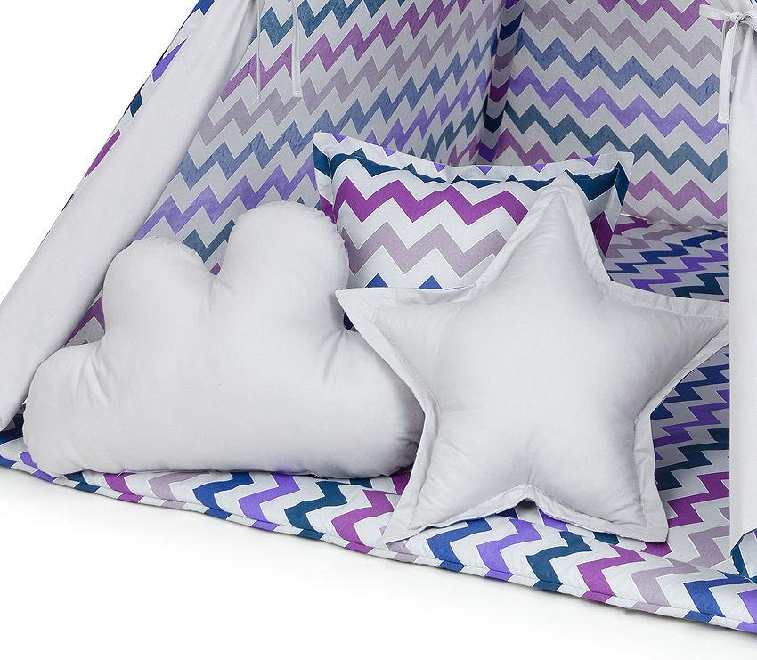 MAMO-TATO Komplet poduszek 3 szt. Zygzak fioletowy / popiel