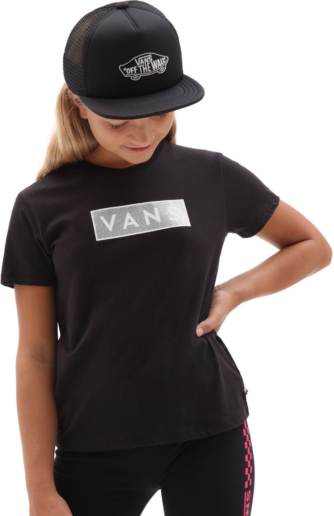 t-shirt dziecięcy VANS GIRLS EASY BOX GLITTER TEE Black
