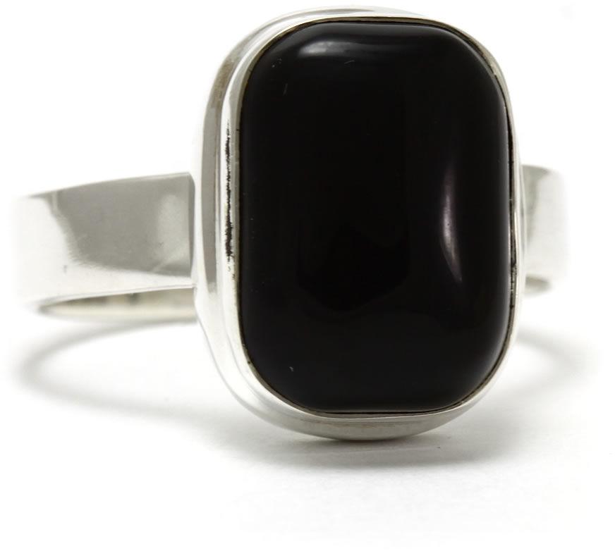 Kuźnia Srebra - Pierścionek srebrny, rozm. 17, Czarny Onyks, 5g, model