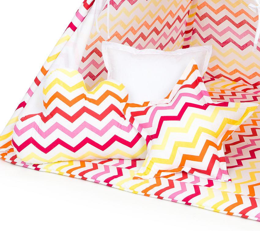 MAMO-TATO Komplet poduszek 3 szt. Zygzak żółto-czerwony / biały