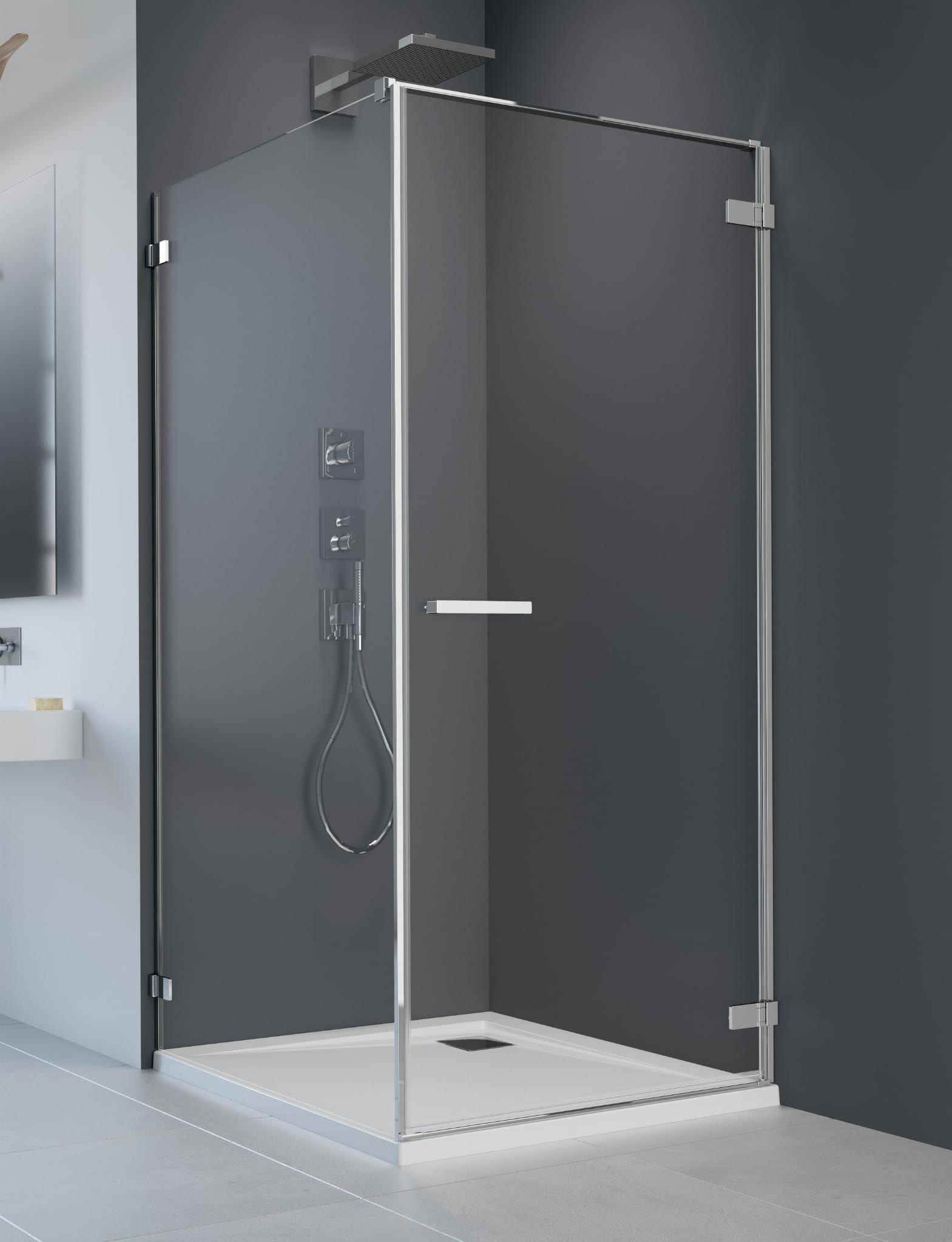 Kabina Radaway Arta KDJ I drzwi prawe 90 cm x ścianka 75, szkło przejrzyste wys. 200 cm, 386082-03-01R/386018-03-01