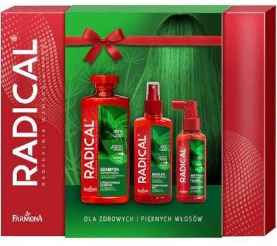 Farmona Radical zestaw wzmacniający ze skrzypem i argininą do włosów osłabionych i wypadających szampon 400 ml + odżywka 100 ml + mgiełka 200 ml [ZESTAW]