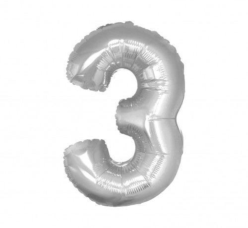 Balon foliowy w kształcie cyfry 3, srebrny 35 cm