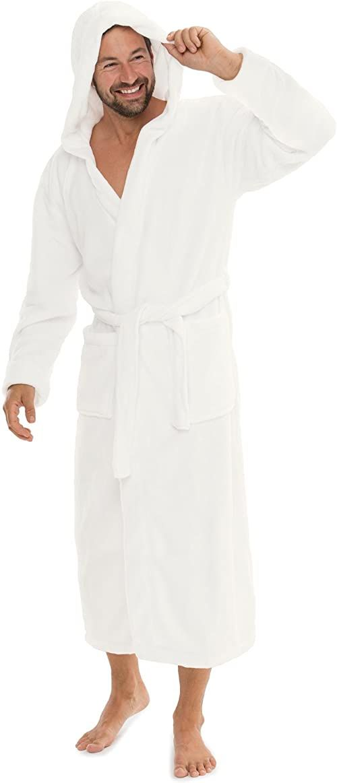 CelinaTex Florida szlafrok damski M biały szlafrok poranny męski Coral Fleece szlafrok do sauny z mikrofibry kaptur unisex