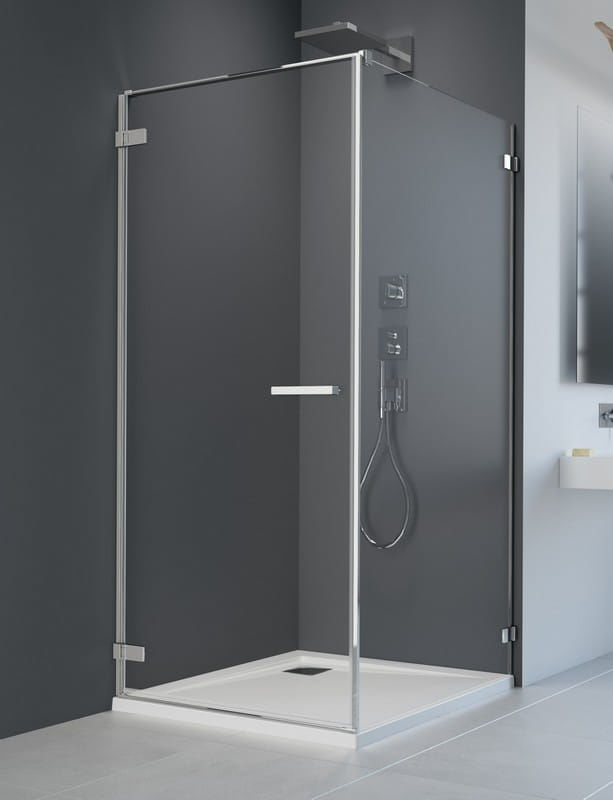 Kabina Radaway Arta KDJ I drzwi lewe 100 cm x ścianka 75, szkło przejrzyste wys. 200 cm, 386083-03-01L/386018-03-01