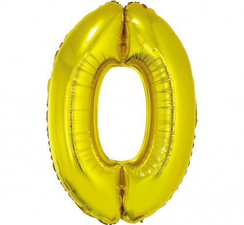 Balon foliowy w kształcie cyfry 0, złoty 35 cm