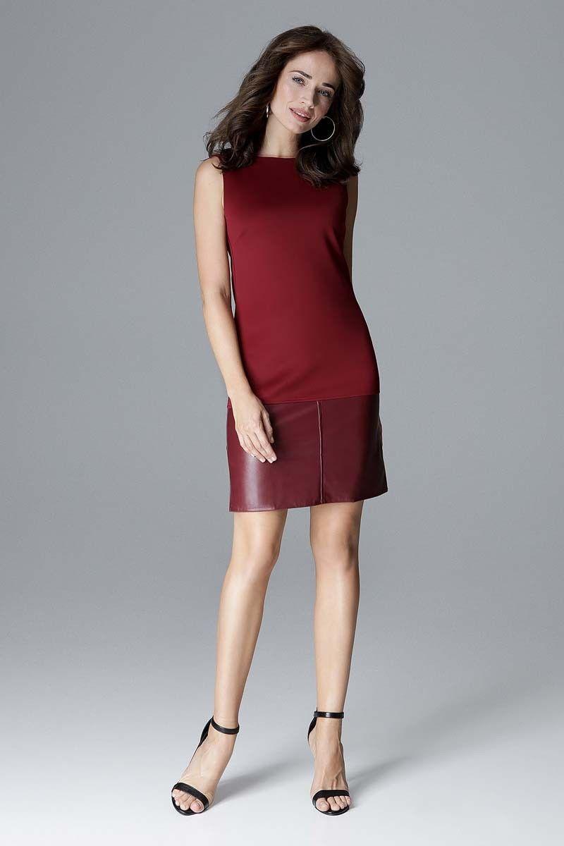 Bordowa prosta sukienka z dodatkiem eko-skóry