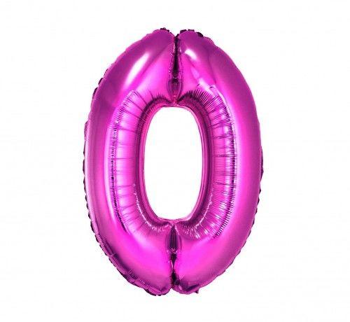Balon foliowy w kształcie cyfry 0, różowy 35 cm