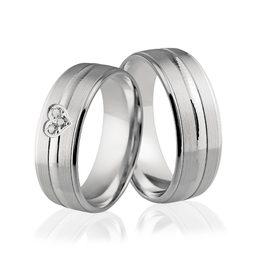Obrączki srebrne z sercem i kamieniami - wzór Ag-297
