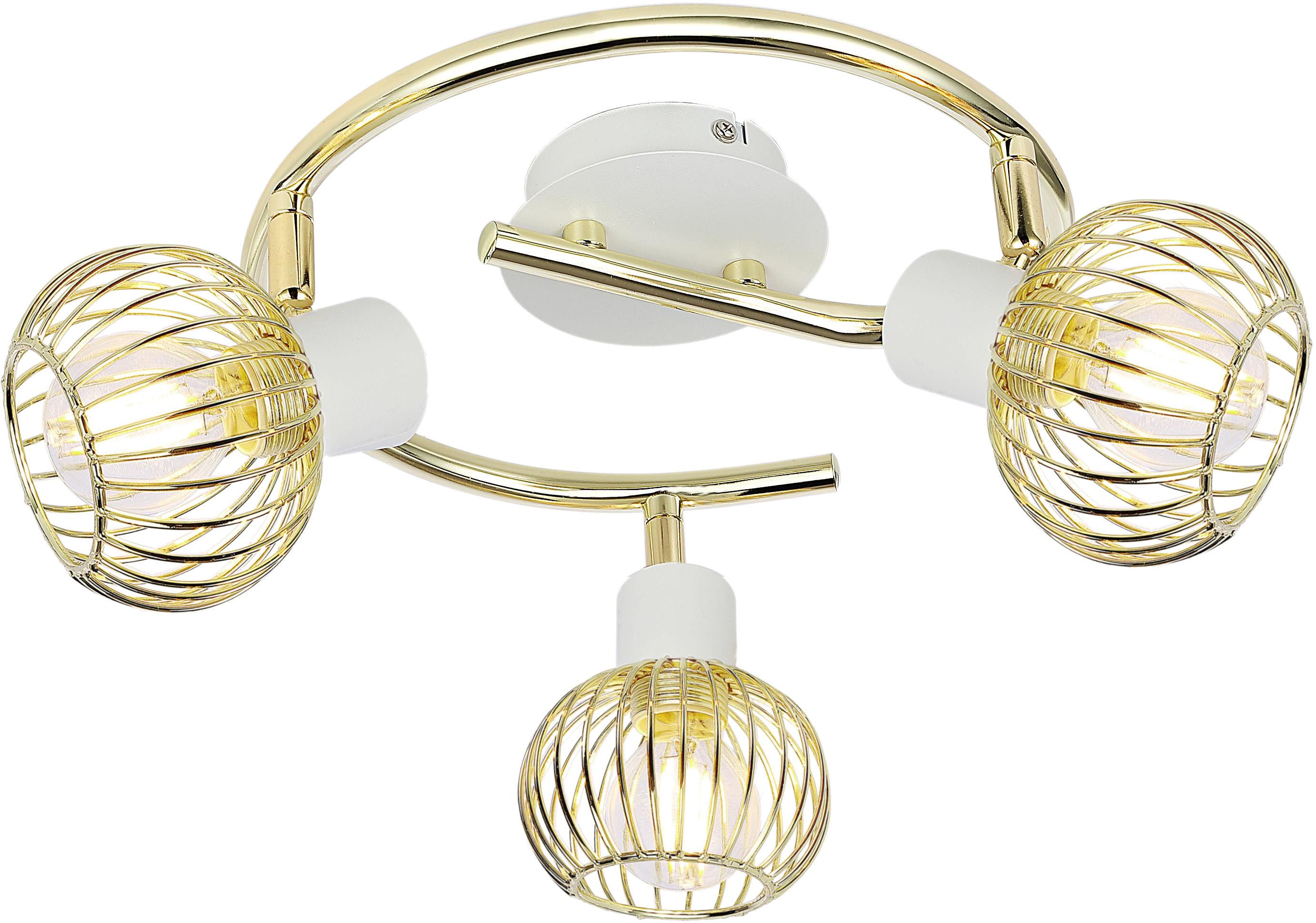 Candellux OSLO 98-61829 plafon lampa sufitowa biały+złoty 3X40W E14 regulacja klosza 42cm