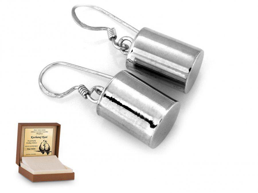 Srebrne kolczyki 925 na biglu prezent grawer