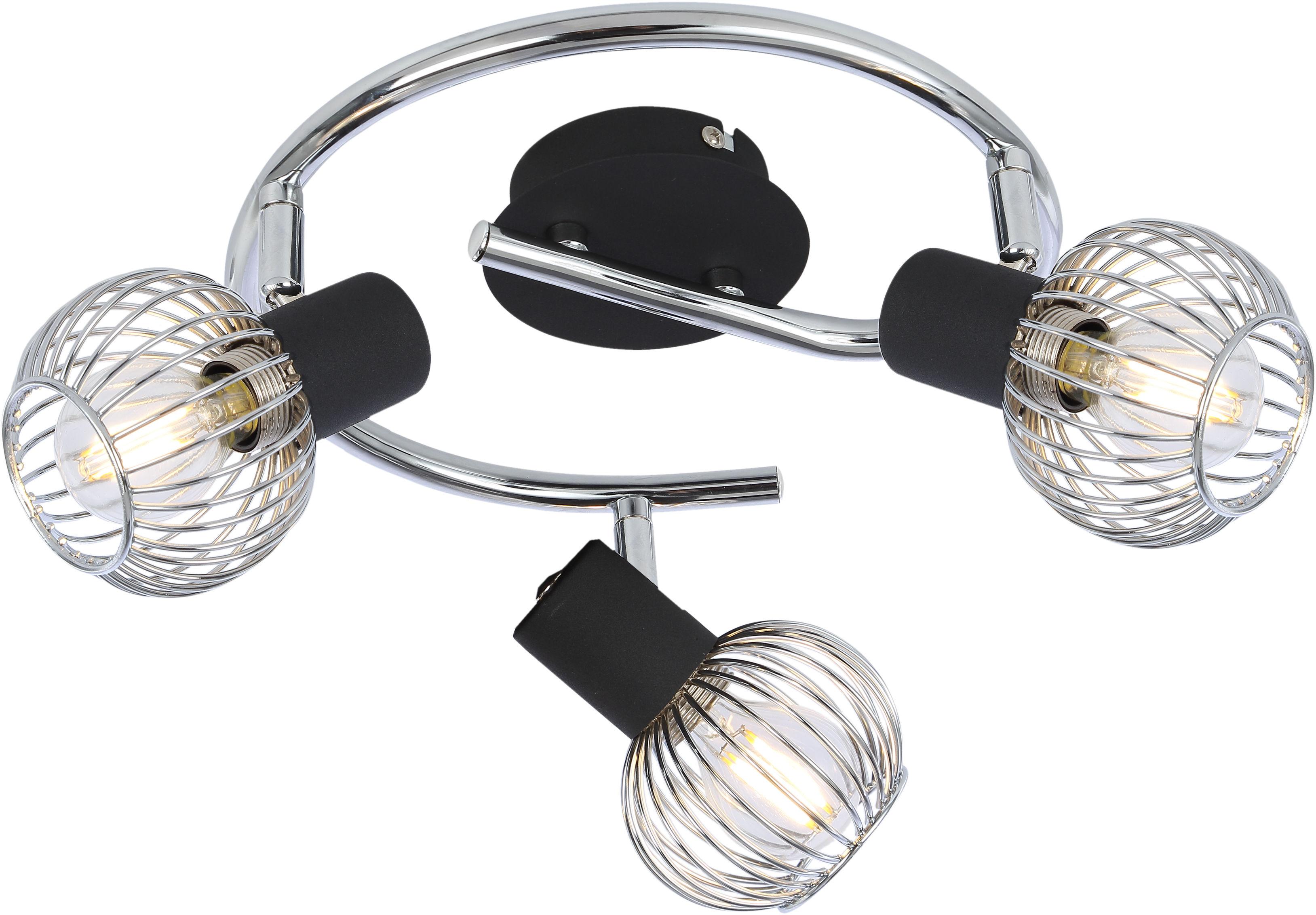 Candellux OSLO 98-61867 plafon lampa sufitowa czarny+chrom regulacja klosza 3X40W E14 42cm