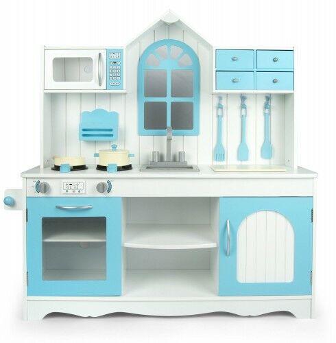Duża drewniana kuchnia biel/niebieski