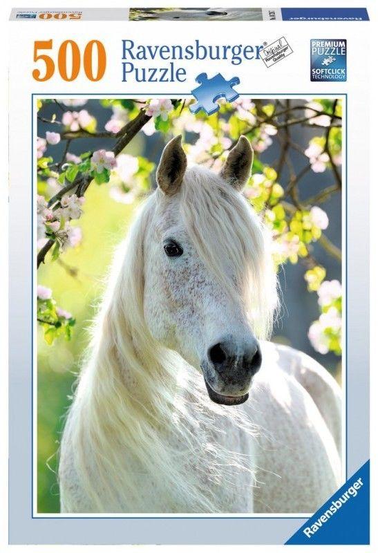 Puzzle Ravensburger 500 - Biały koń, White horse