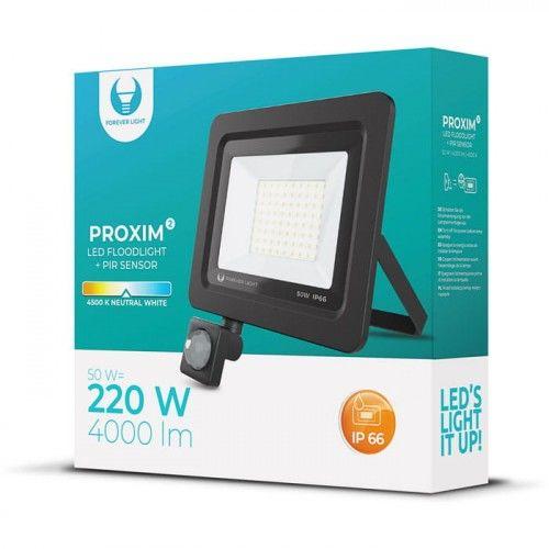 Naświetlacz LED PROXIM II 50W biały neutralny z czujnikiem ruchu