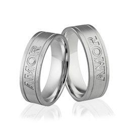 Obrączki srebrne z tekstem Amor Vincit Omnia - wzór Ag-298