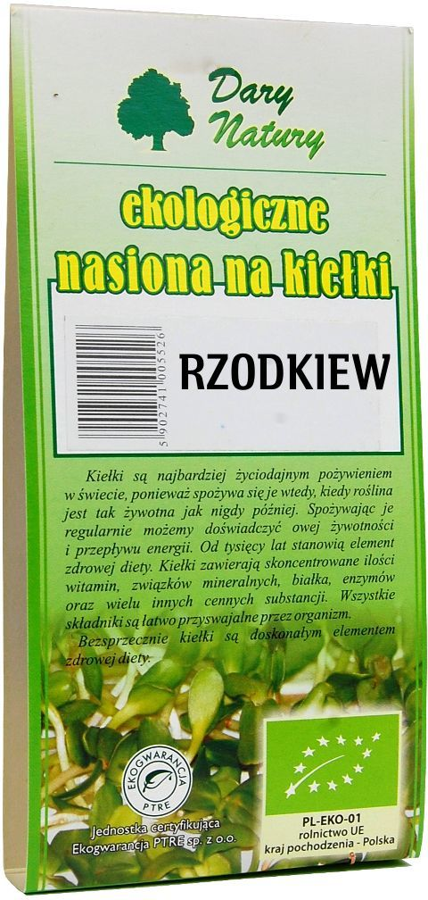 Nasiona rzodkiewki bio na kiełki 30 g - dary natury