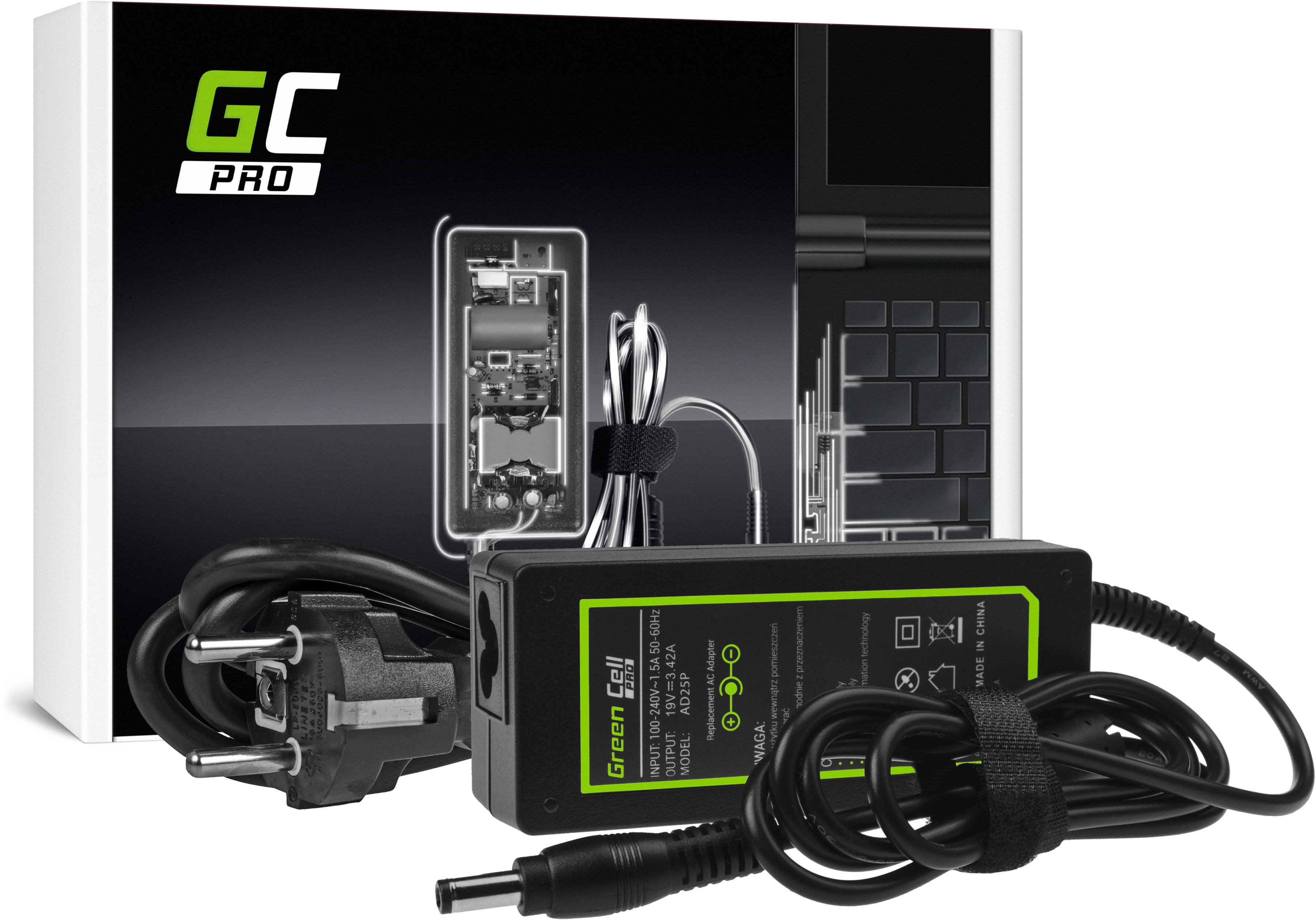 Zasilacz Ładowarka Green Cell PRO 19V 3.42A 65W do laptopa Asus R510C R510L R556L X550C X550L Toshiba Satellite C650 L750