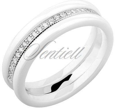 Dwa białe pierścionki ceramiczne i pierścionek srebrny z cyrkoniami