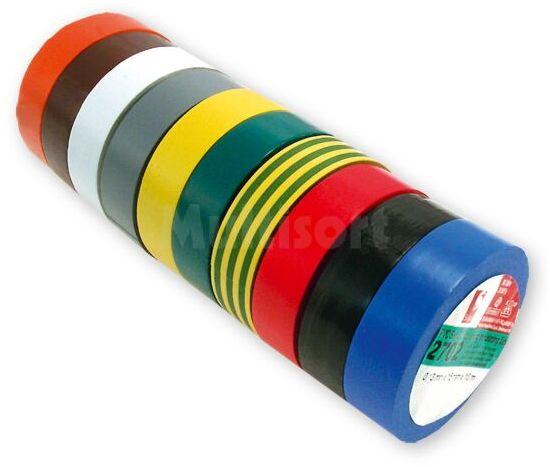 Zestaw 10 taśm izolacyjnych 15mm różne kolory 10m