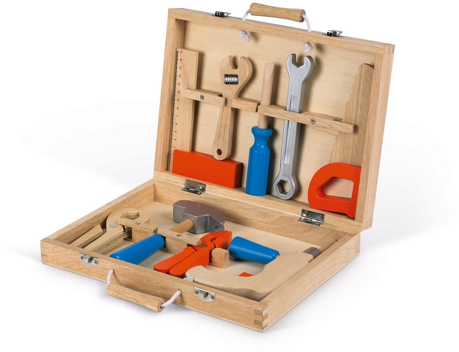 Janod - Brico''Kids J06481 skrzynka na narzędzia, drewniana dla dzieci, imitacja zabawek, 9 części, od 3 roku życia, J06481