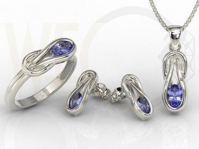Zestaw: pierścionek, kolczyki i wisiorek z białego złota z tanzanitem bp-69b-zestaw