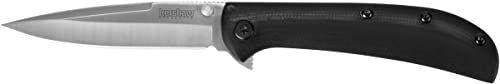 Kershaw Unisex  dorośli, nóż kieszonkowy, AM-3 Framelock, Drop Point, czarny, składany nóż, Extended Tang, szpilka na kciuk, klips kieszonkowy, satynowe wykończenie, szary, 182 mm