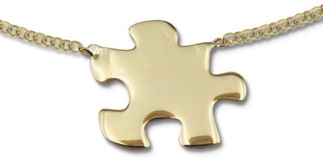 Naszyjnik ze złota - celebrytka z motywem puzzle - model 17