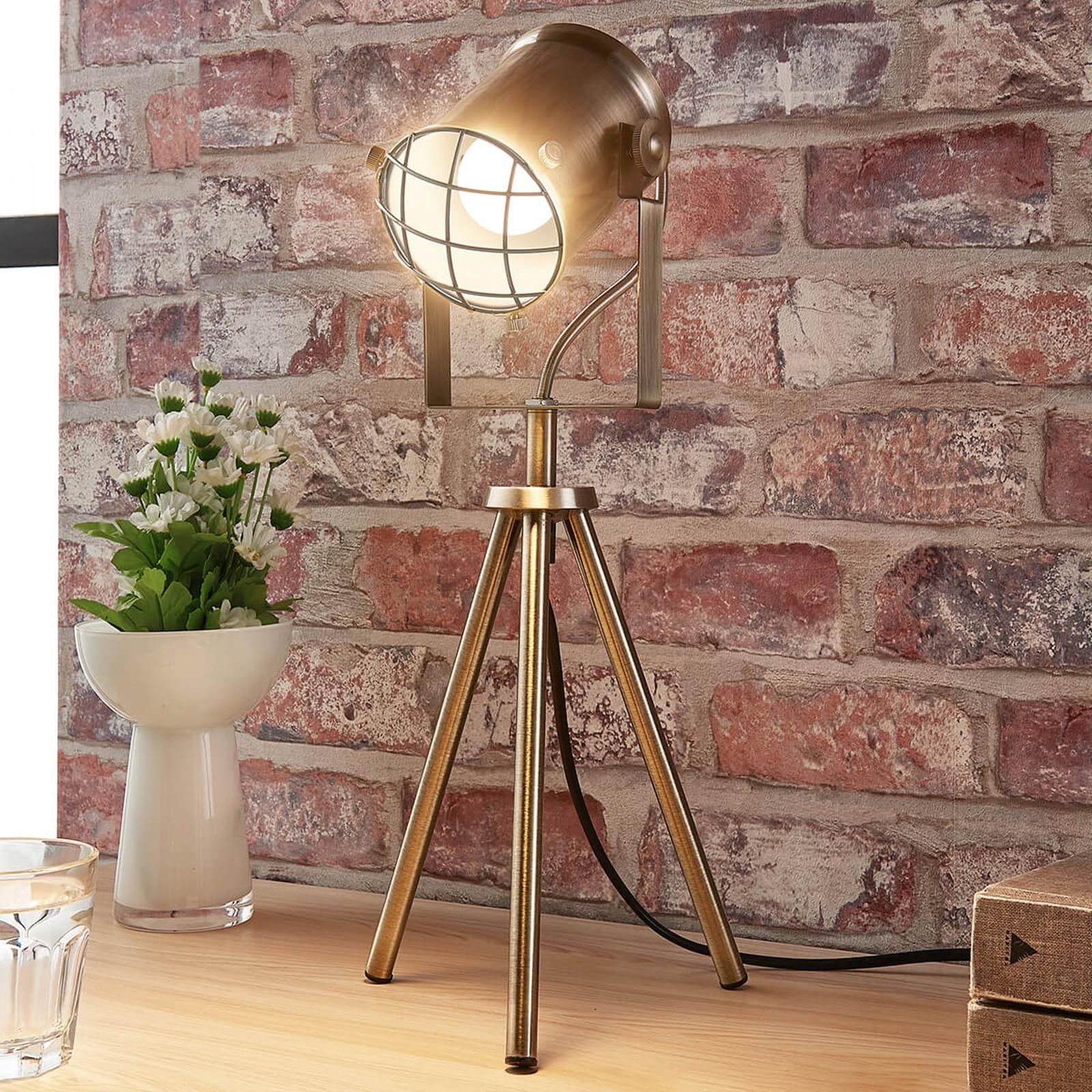 Lampa stołowa Ebbi, industrialna, stary mosiądz