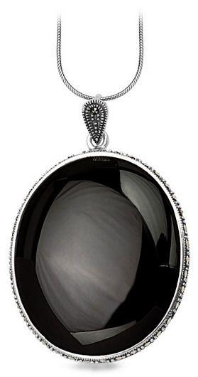 Staviori wisiorek owalny czarny onyks. markazyty. srebro 0,925. wysokość 50 mm.