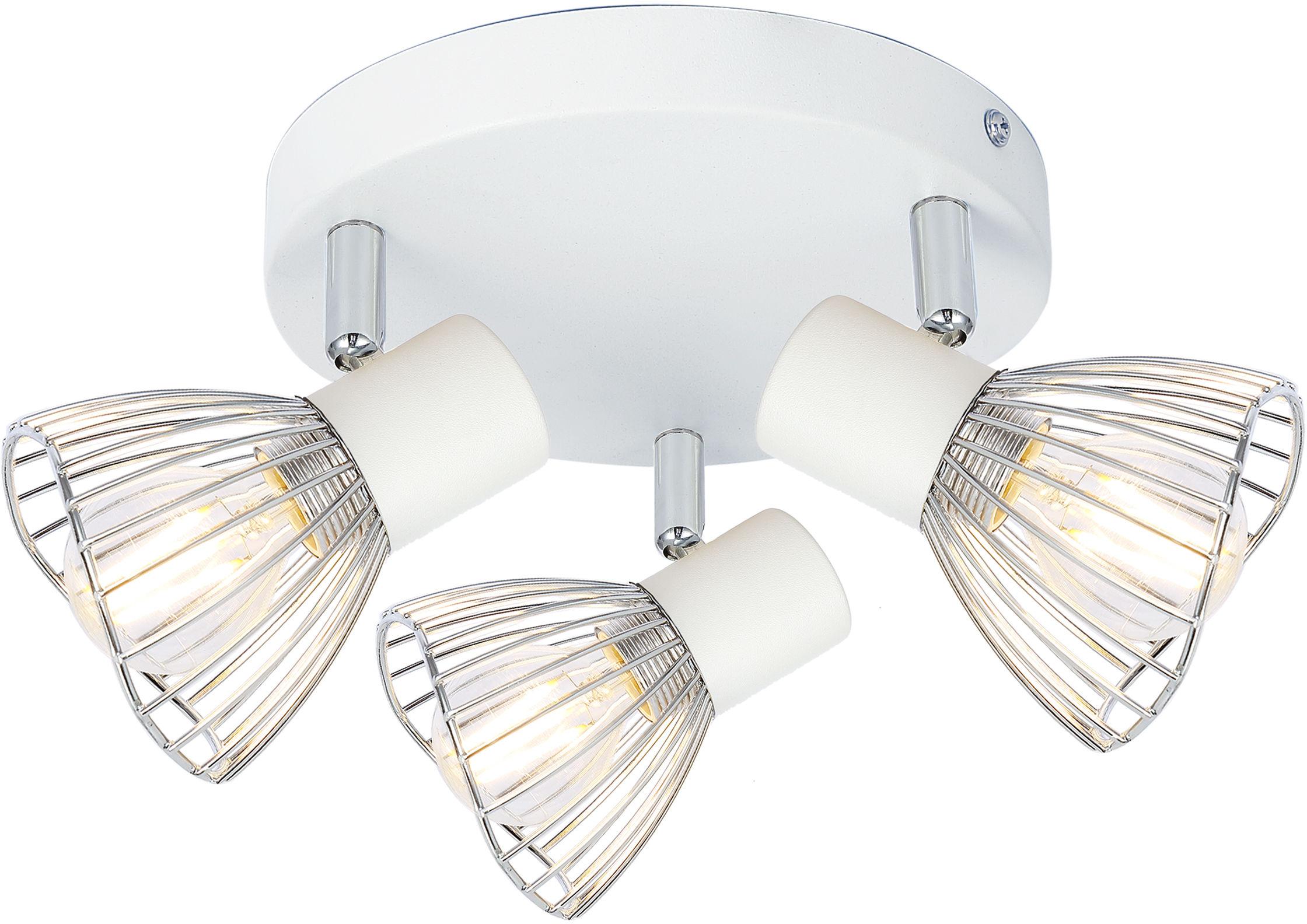 Candellux FLY 98-61980 plafon lampa sufitowa biały+chrom regulacja klosza 3X40W E14 33cm