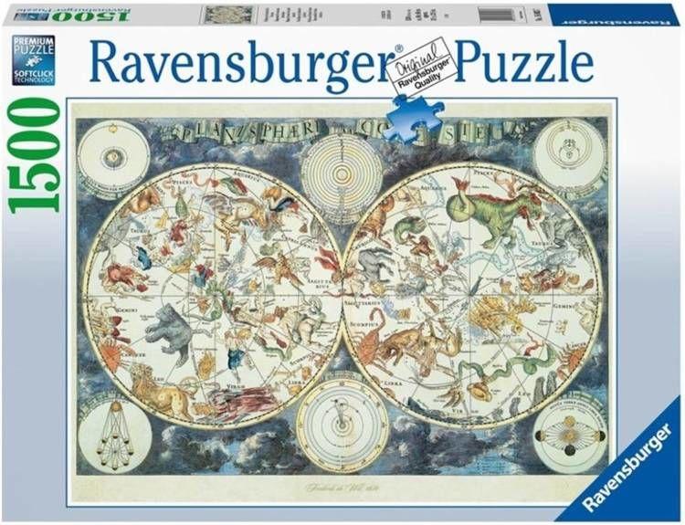 Puzzle 1500 Mapa z fantastycznymi zwierzętami - Ravensburger