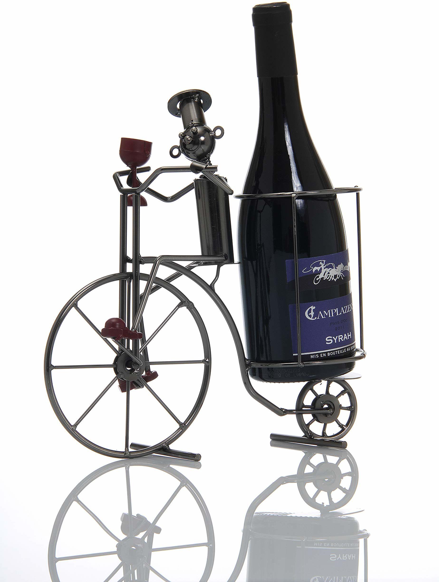 ludi-vin 1499 stojak na butelki Kucharz na rowerze metalowy, 29 x 11 x 13 cm