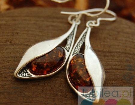 Cercei - srebrne kolczyki z bursztynem