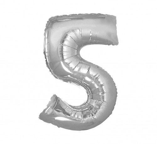 Balon foliowy w kształcie cyfry 5, srebrny 35 cm