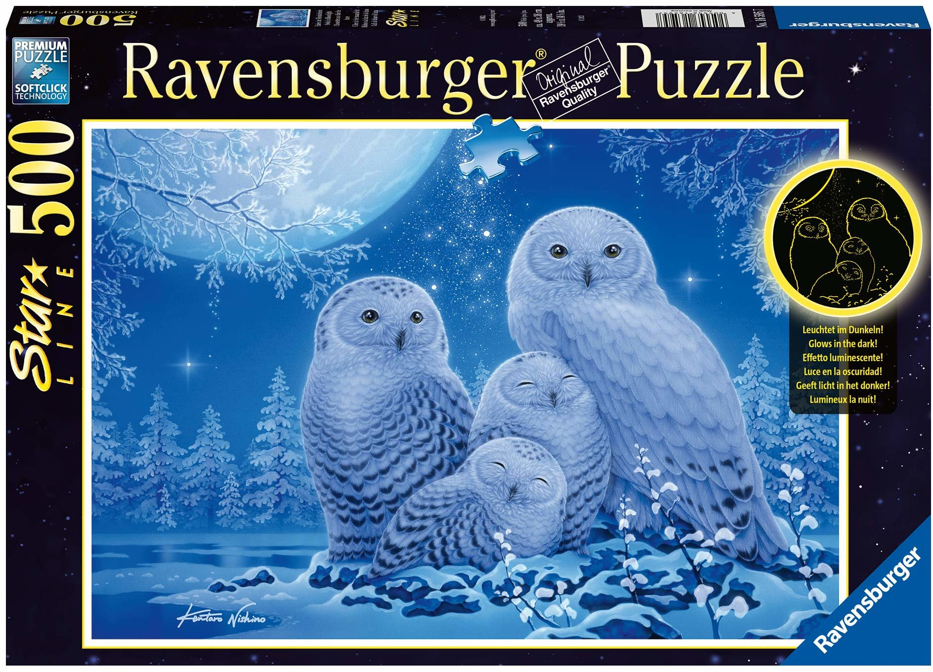 Ravensburger Puzzle 16595 sowy w świetle księżyca 16595 sowy 500 części, wielokolorowe