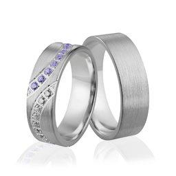 Obrączki srebrne z kolorowymi kamieniami - wzór Ag-301