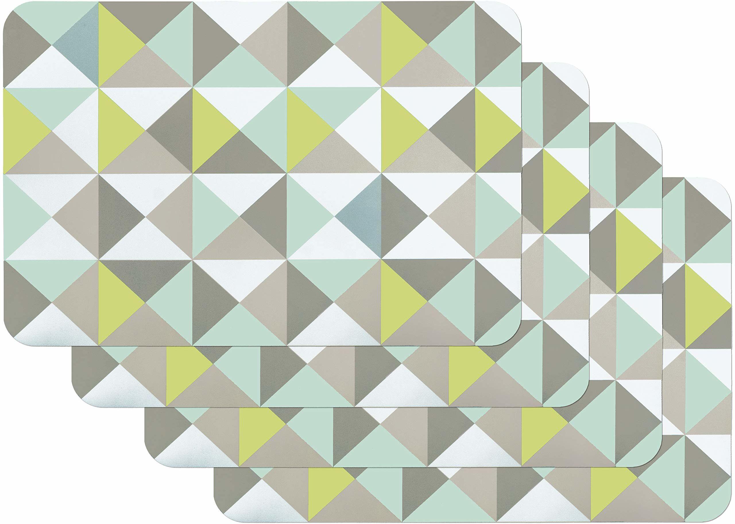 Venilia Triangle Mint 59044, 59044, zestaw podkładek stołowych do jadalni, kolor zielony, trójkątny, wzór vintage, 4 sztuki, z polipropylenu