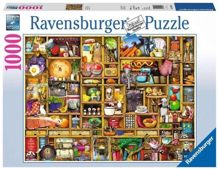 Puzzle 1000 Regał w kuchni - Ravensburger