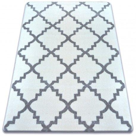Dywan SKETCH - F343 biało/szara koniczyna marokańska trellis 80x150 cm