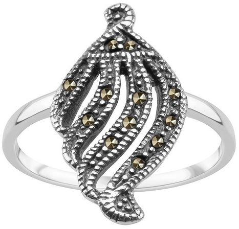 Staviori pierścionek muszelka. markazyty. srebro 0,925.