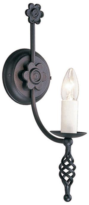 Kinkiet pojedyńczy Belfry BY1 BLK Elstead Lighting czarna oprawa w klasycznym stylu