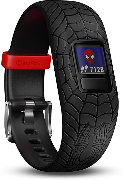 Garmin vívofit jr. 2 cyfrowy, wodoszczelny zegarek sportowy w stylu Marvel Spider-Man dla dzieci od 4 lat, z ciekawą aplikacją przygód, krokomierz, czarny, czas pracy baterii do 1 roku